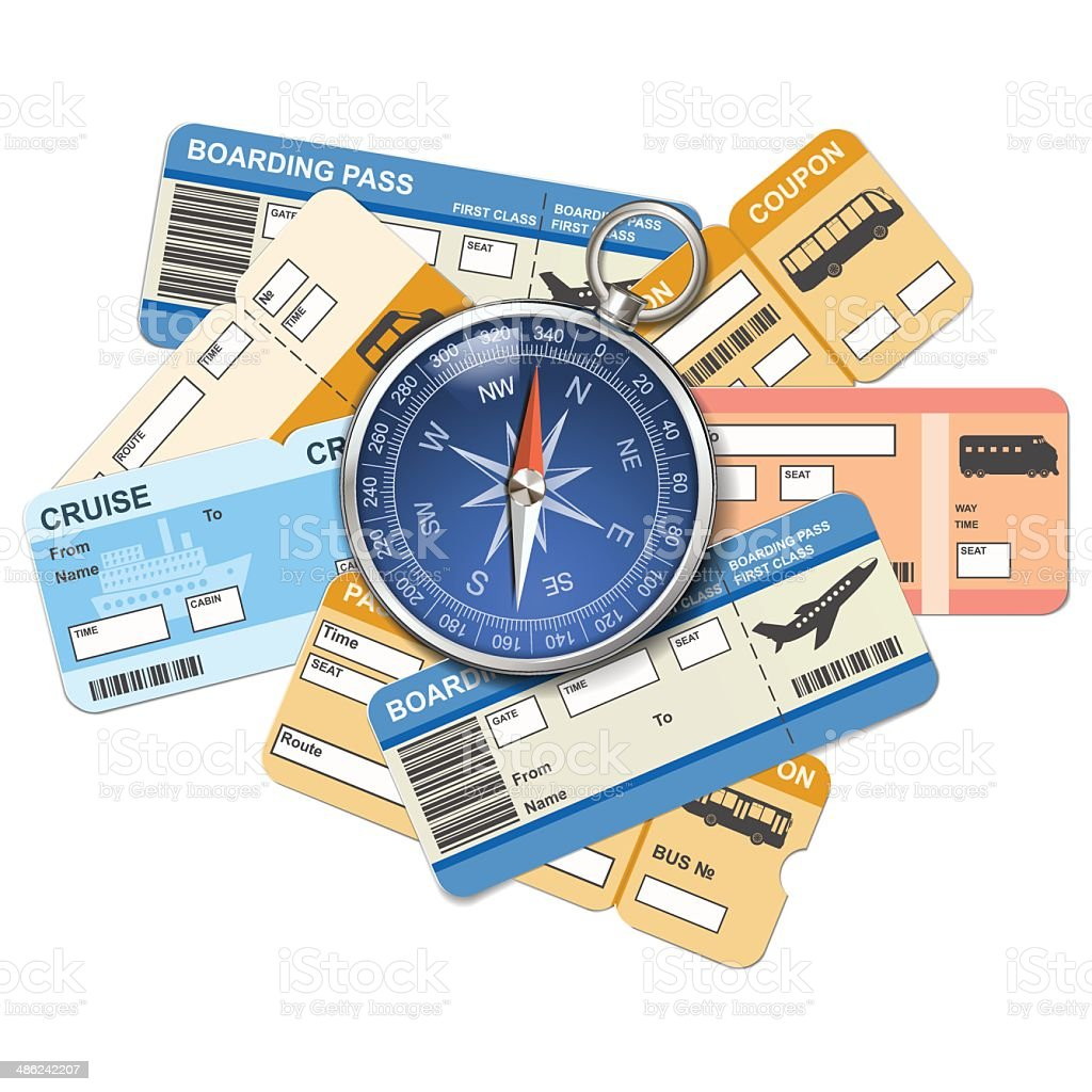 Vector compass and tickets vector art illustration