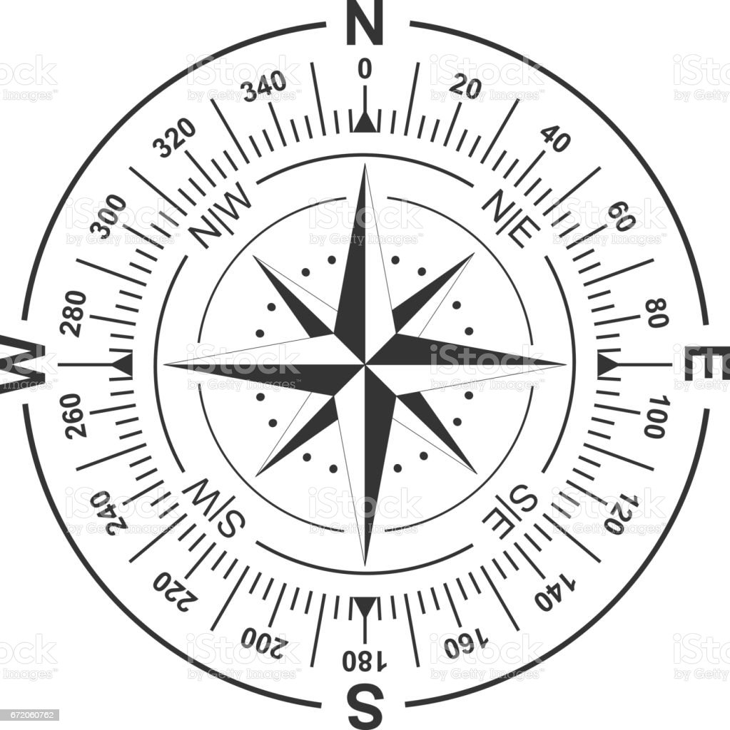 Vector compass and wind rose icon. – Vektorgrafik