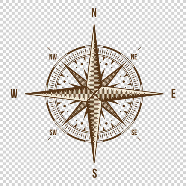 Vector Compass. High Quality Illustration. Old Style. West, East, North ベクターアートイラスト