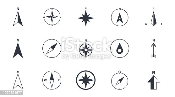 Vector compass icons. North south west and east. Wind rose icon, north arrow. Black and white symbols. Editable stroke.