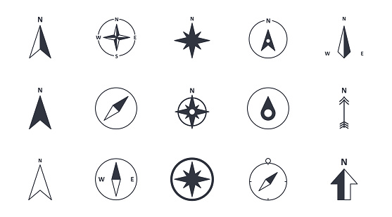 Vector compass icons. North south west and east. Wind rose icon, north arrow. Black and white symbols. Editable stroke