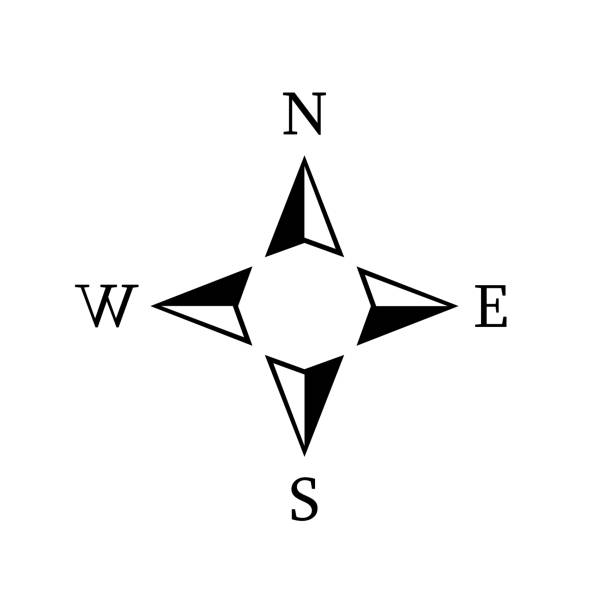 Vector compass rose with North, South, East and West indicated Vector compass rose with North, South, East and West indicated north stock illustrations