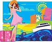 vector composition of traveler woman in resort