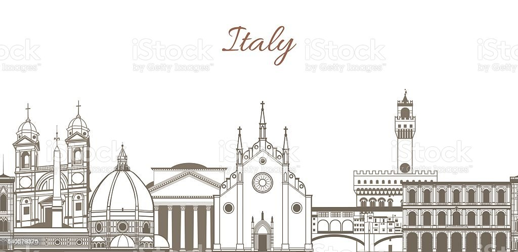vector composition with famous landmarks of Italy vector art illustration