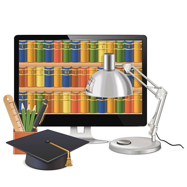 vektor-computer-bibliothek-konzept - stiftehalter stock-grafiken, -clipart, -cartoons und -symbole
