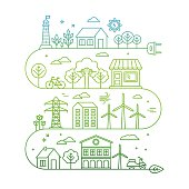 Vector concept and infographic design elements in trendy linear style - city illustration concept with alternative energy generators - nature conservation and protection with modern innovation and technologies