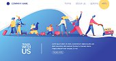 Vector concept banner with travelling people. Happy flat character with luggage, kids and bags. Landing page for vacation, buing avia tickets and travel agency.