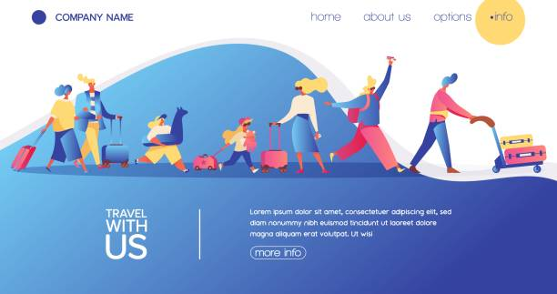 Vector concept banner with travelling people Vector concept banner with travelling people. Happy flat character with luggage, kids and bags. Landing page for vacation, buing avia tickets and travel agency. airport backgrounds stock illustrations
