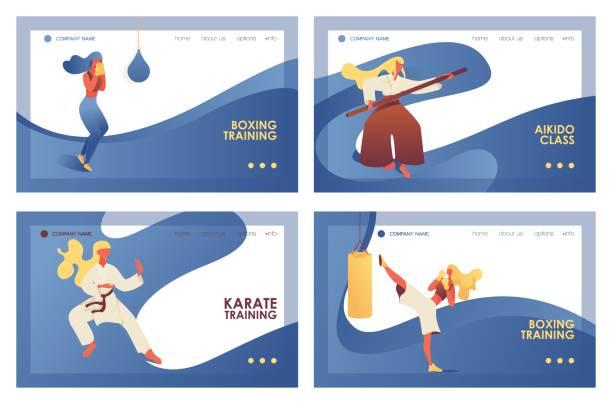 stockillustraties, clipart, cartoons en iconen met vector concept banners met fight meisjes en jonge vrouwen doen martial arts opleiding. boksen, kickboksen, aikido en karate oefening op bestemmingspagina's met blauwe golven - kickboksen