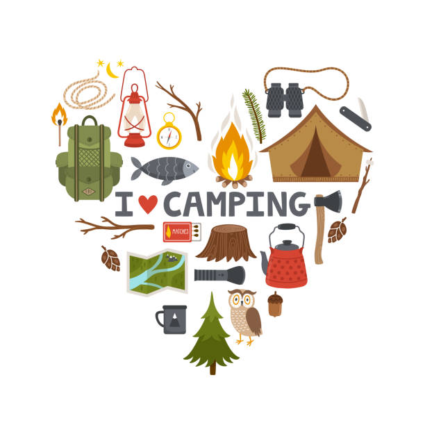 Vector concept camping background. Heart made from camping equipment and text