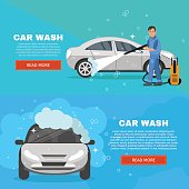 Vector concept car wash service illustration