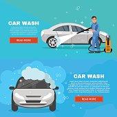 Vector concept car wash service illustration