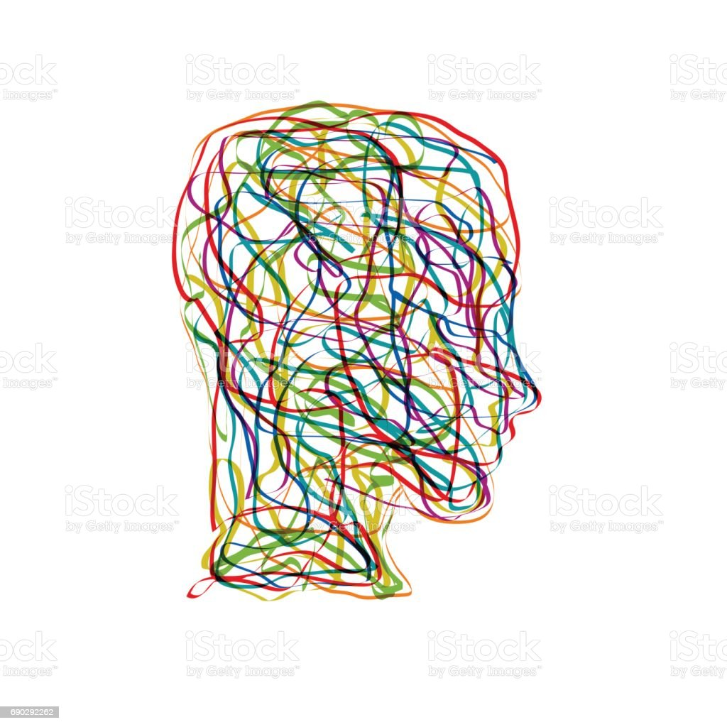 Vector concept confusion in the head vector art illustration