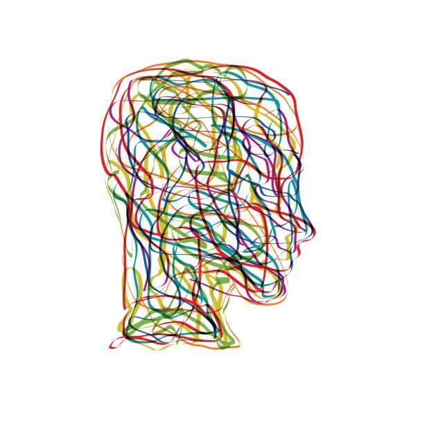 stockillustraties, clipart, cartoons en iconen met vector concept verwarring in het hoofd - psychische aandoening
