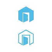 Vector concept design door in the hexagon with blue color