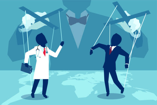 vector concept flat style illustration of a person manipulating doctor and insurance agent behind the scenes. - kukiełka stock illustrations