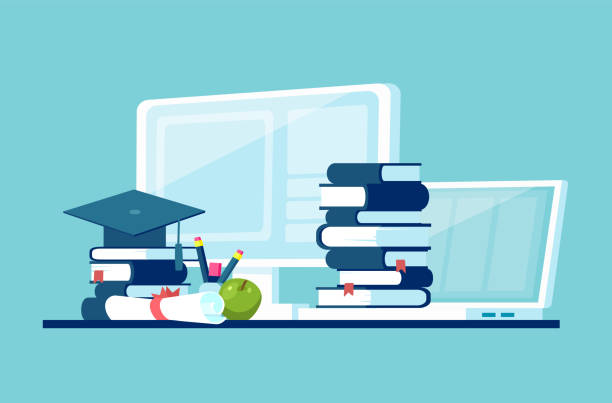 vector concept for distance education - online learning stock illustrations
