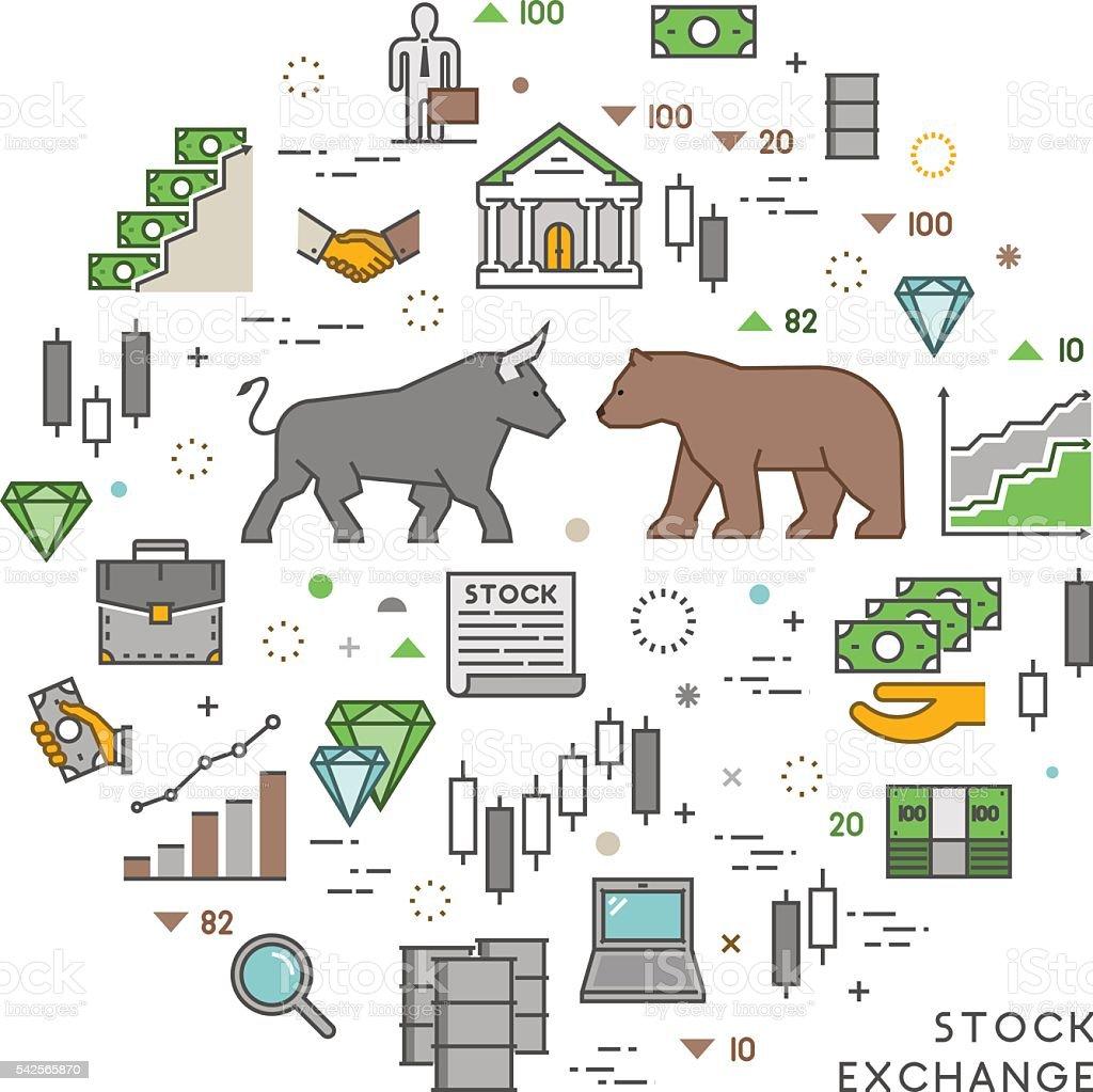 Vector concept for stock exchange vector art illustration