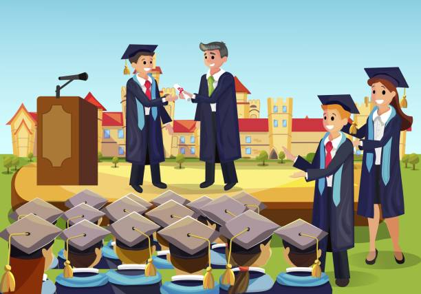 Vector Concept Illustration Cartoon Happy Students Vector Concept Illustration Cartoon Happy Students. Image University Graduation Process. Dean Gives Students Diploma from Institute in Front Group Fellow Students. Happy Students Applaud college dean stock illustrations