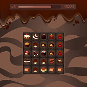 Vector concept illustration of three in a row casual game mockup with chocolate candies, streaks, life and score points