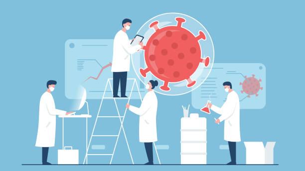 ilustraciones, imágenes clip art, dibujos animados e iconos de stock de ilustración del concepto vectorial de un equipo de científicos que trabajan en la vacuna contra el coronavirus en el laboratorio. representa un concepto de búsqueda de vacunas, protección médica y trabajo de médicos y científicos - covid 19 vaccine