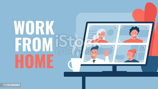 istock Vector concept illustration of a teamwork via conference. Group of people communicating via video conferencing program. Monitor with conference in a cozy room with a flower, cup of coffee on the table 1226088983