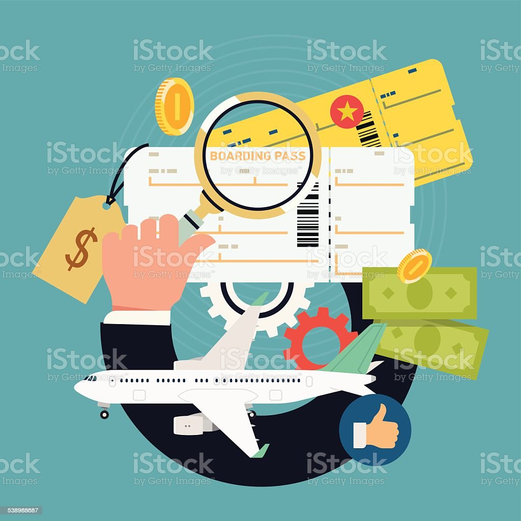 Vector concept illustration on airline tickets and flights search vector art illustration