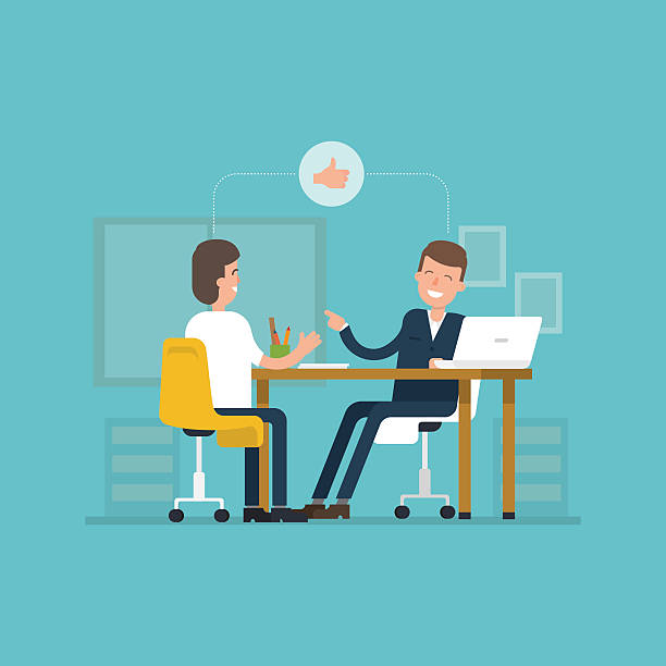 Vector concept interviews by the candidate in flat style. Vector concept interviews by the candidate in flat style. Jobseeker and employer sit at the table and talk. Good impression. Thumbs up! Simple concept with working situation. Recruitment. Hiring. job interview stock illustrations