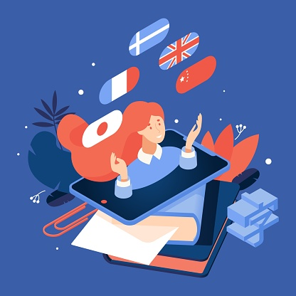 Vector concept isometric illustration about learning languages with woman from tablet, flags, greenery leaves and books isolated on blue background.