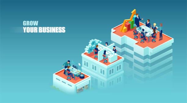 stockillustraties, clipart, cartoons en iconen met vector concept van een bedrijfsgroei en financieel succes - klein