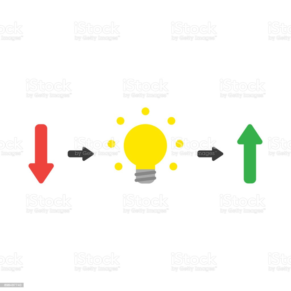 Vector concept of arrow pointing down with light bulb symbolizing vector concept of arrow pointing down with light bulb symbolizing the idea and arrow pointing up buycottarizona Choice Image