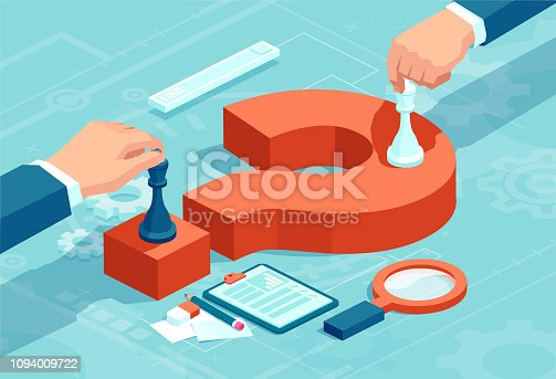 Vector concept of businessmen moving chess pieces on red question mark negotiating strategic decisions.