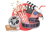 3D Vector Concept of Cinema Poster Composition with Popcorn, Clapperboard, 3d Glasses and Filmstrip, Movie Theater Icon, Cinematography and Filmmaking.
