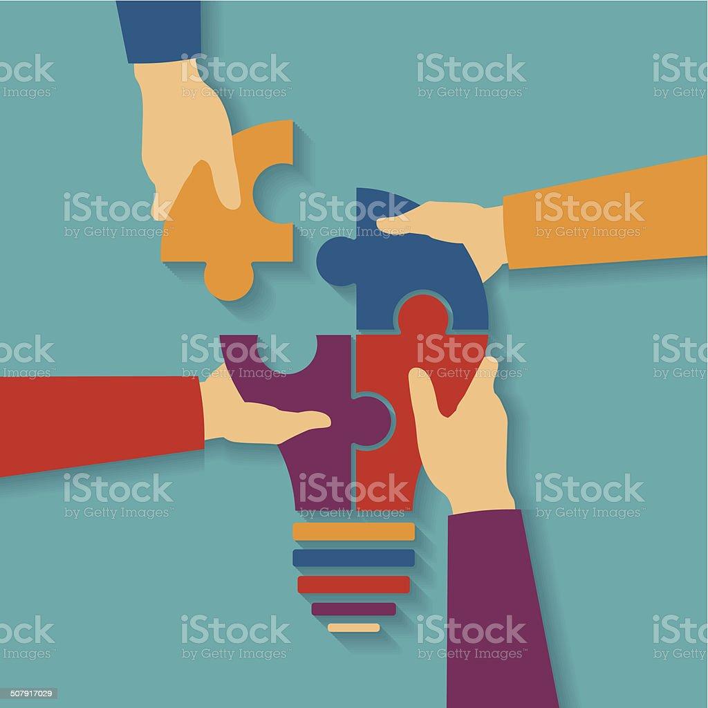 Vector concept of creative teamwork vector art illustration