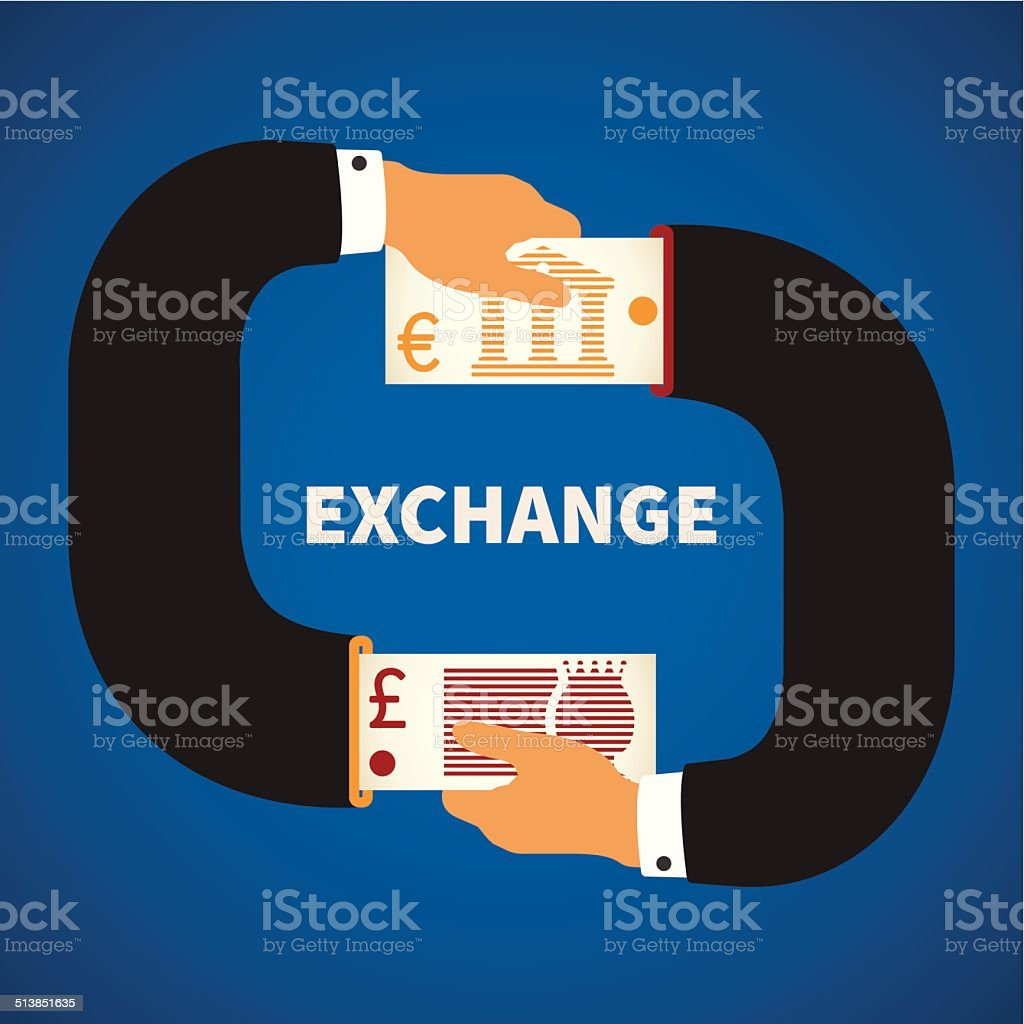 Vector concept of currency exchange process vector art illustration