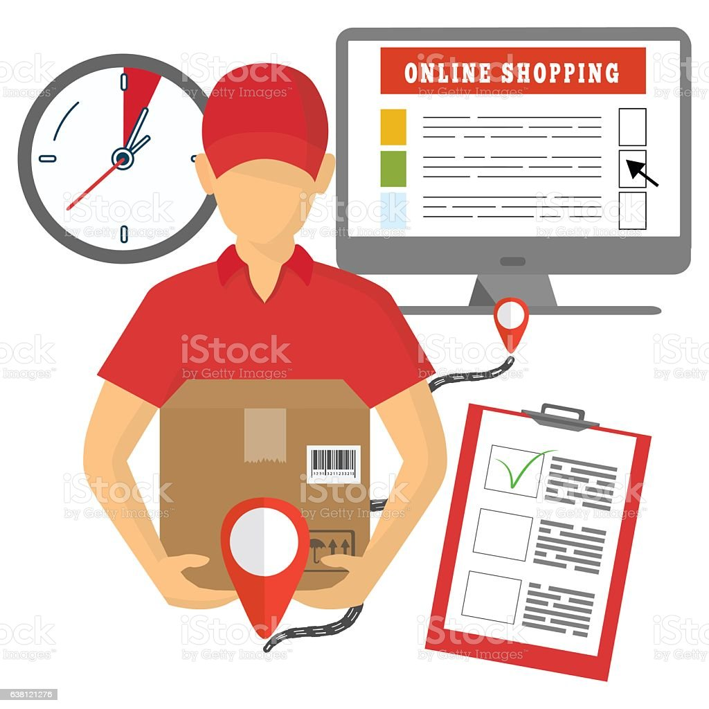 vector concept of delivery mobile marketing and online shopping e