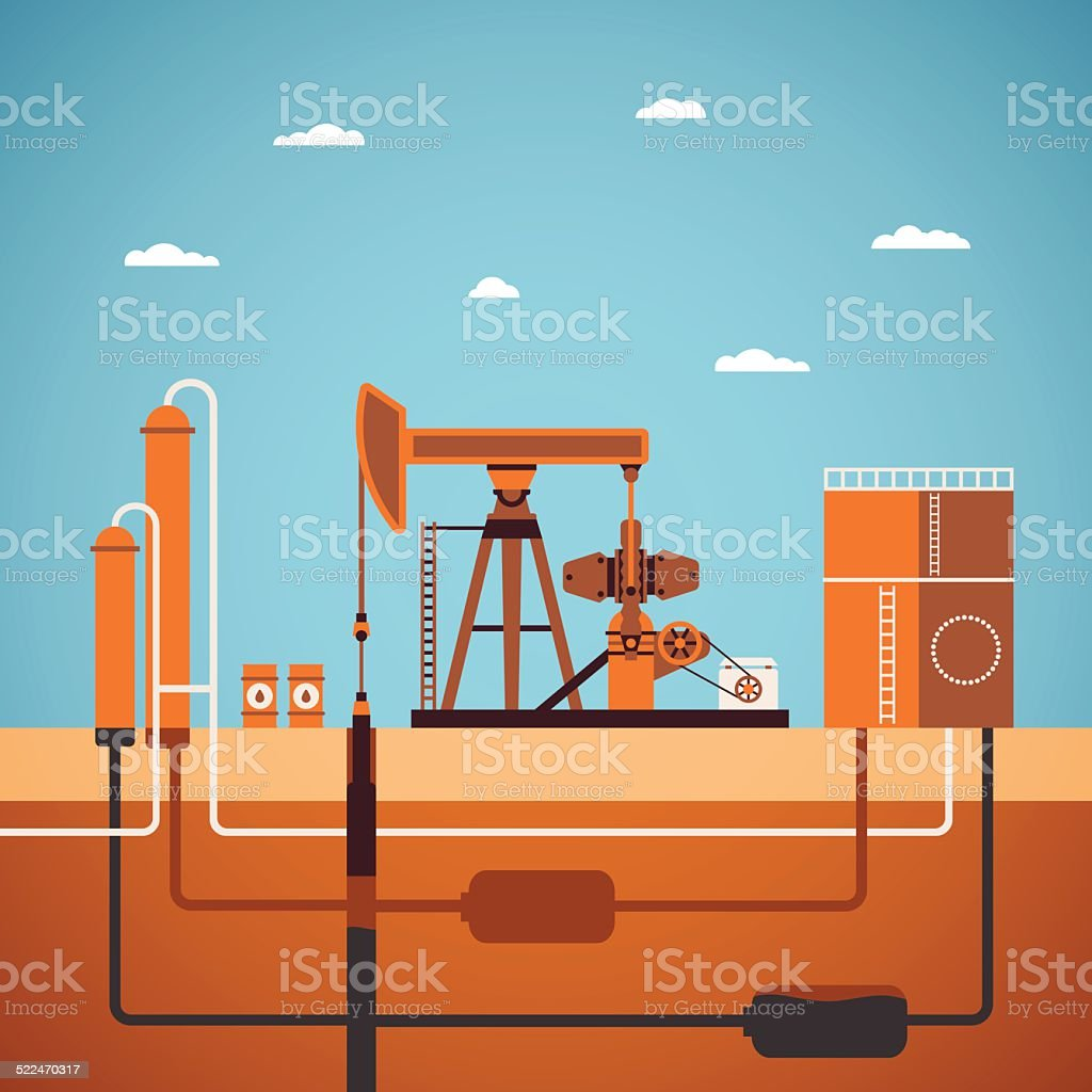 Vector concept of equipped oil well vector art illustration