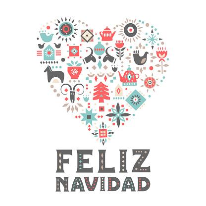 "Vector concept of festive card. Heart made of festive symbols and an inscription ""Feliz Navidad"" (Merry Christmas, Spanish)"
