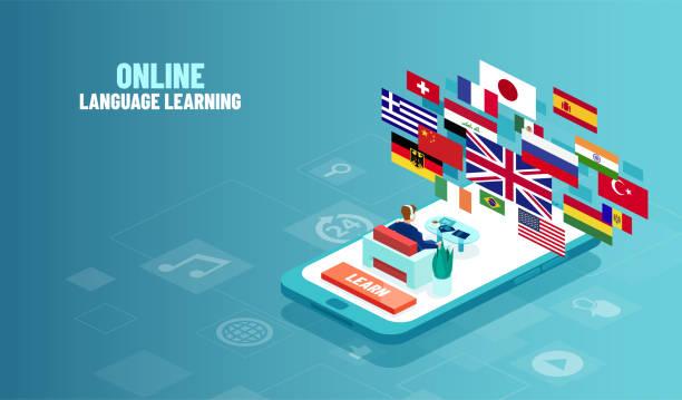 illustrazioni stock, clip art, cartoni animati e icone di tendenza di concetto vettoriale di studio online in lingua straniera. - lingua