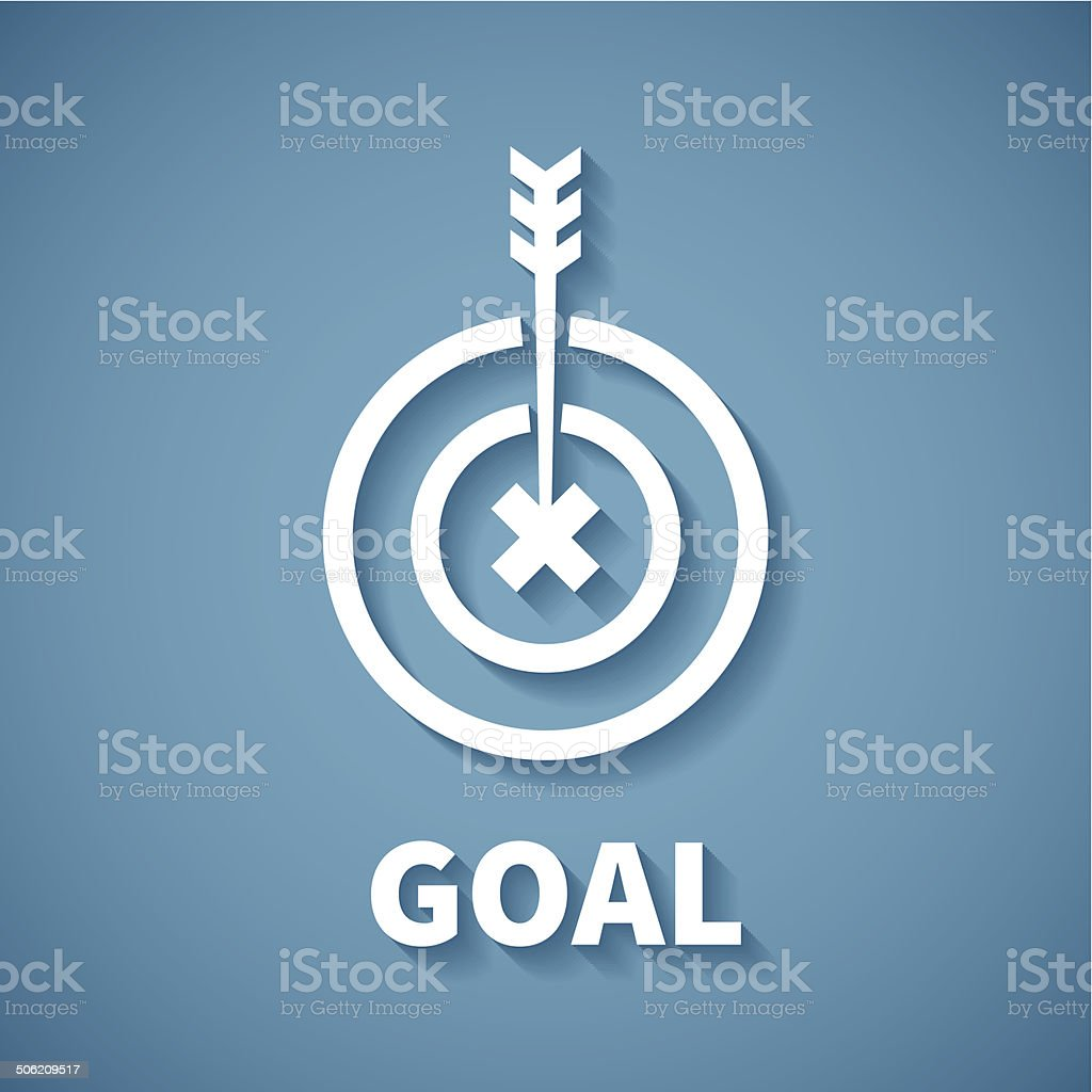Vector concept of goal or target achievement with dart arrow vector art illustration