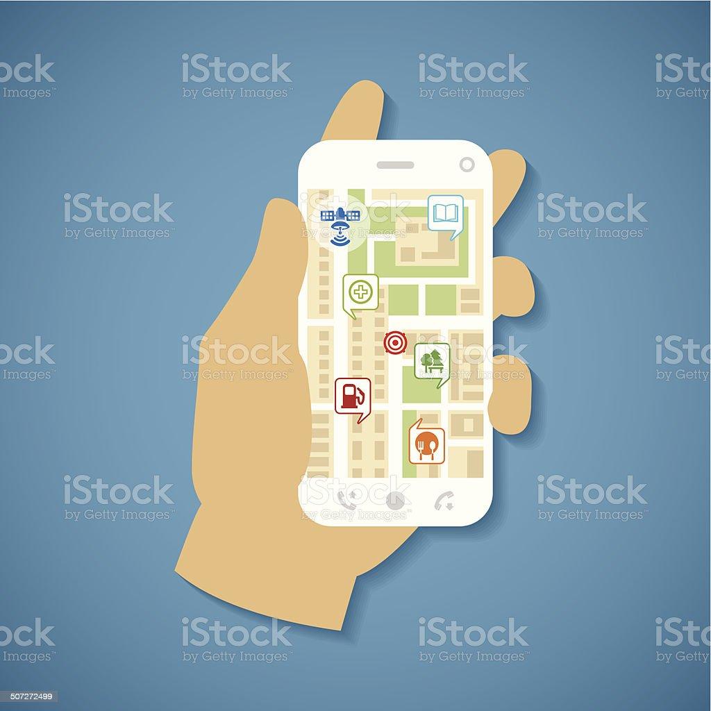 Vector concept of gps navigation on smartphone. vector art illustration