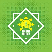 Vector banner green energy. Concept of green energy with solar panels, sun and house on abstract green background