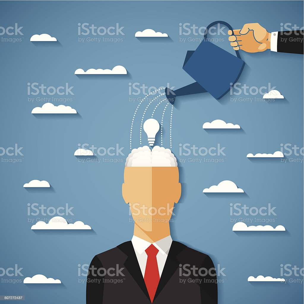 Vector concept of growing idea in human head vector art illustration