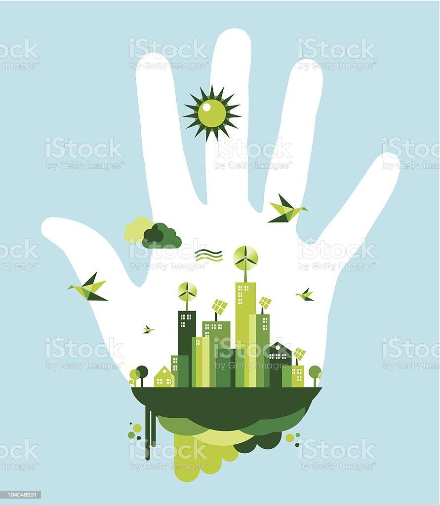 Vector concept of human impact on environment vector art illustration