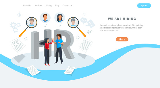 641422198 istock photo Vector concept of human resources, online job search, recruitment service. Employment agency. We are hiring. HR managers choosing best candidate to hire.  Recruit for business, recruitment process. 1215950391
