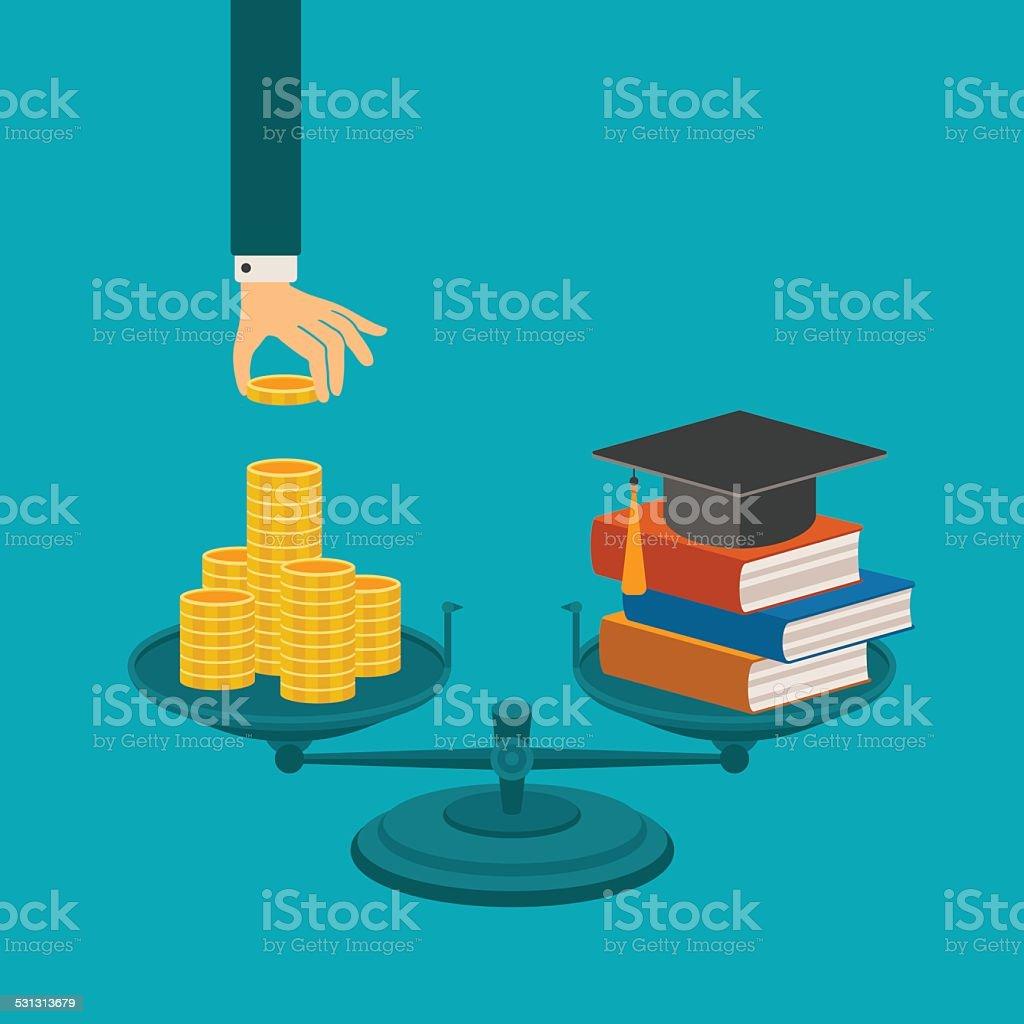Vector concept d'investissement dans l'éducation - Illustration vectorielle