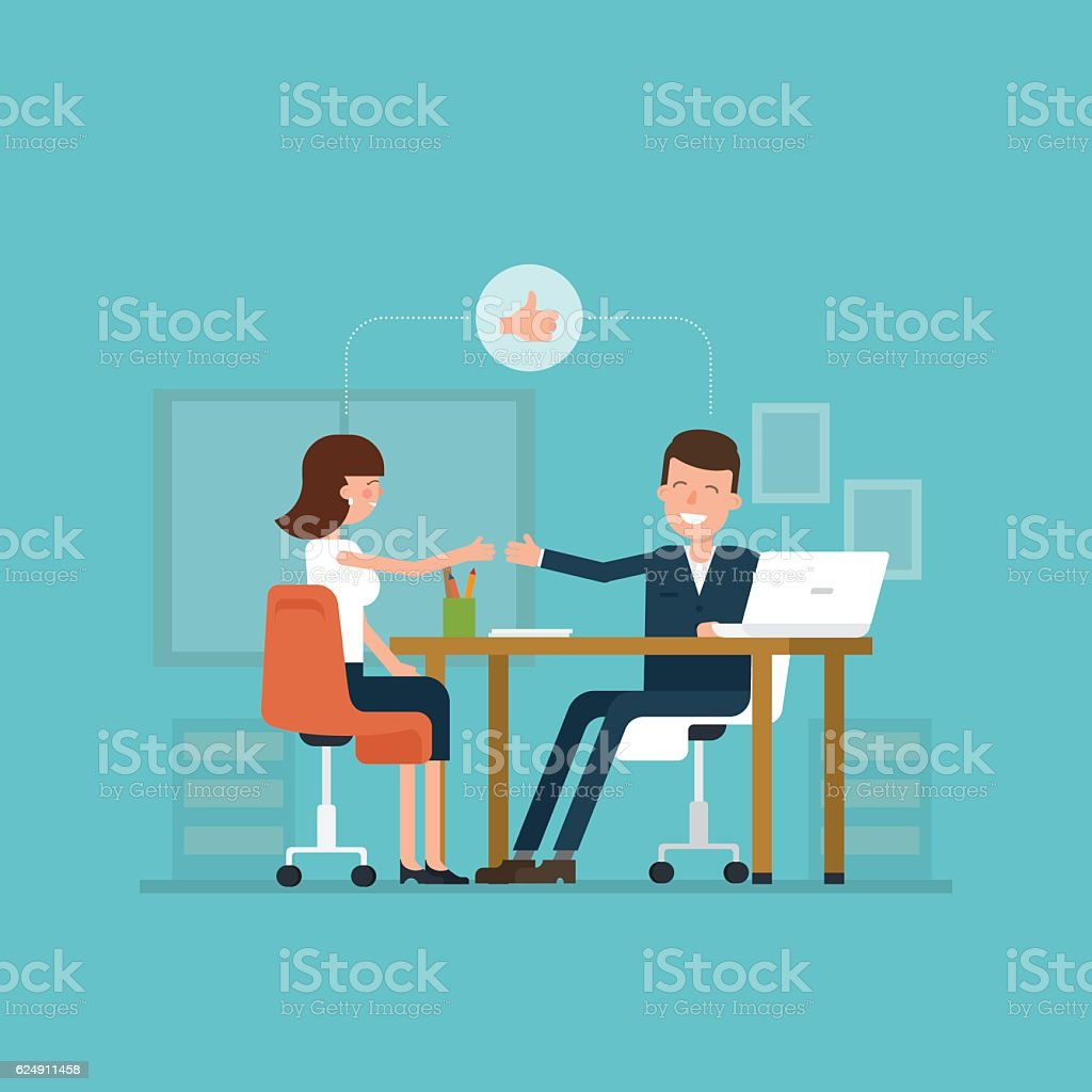 Vector concept of job interview women in flat style. vector art illustration