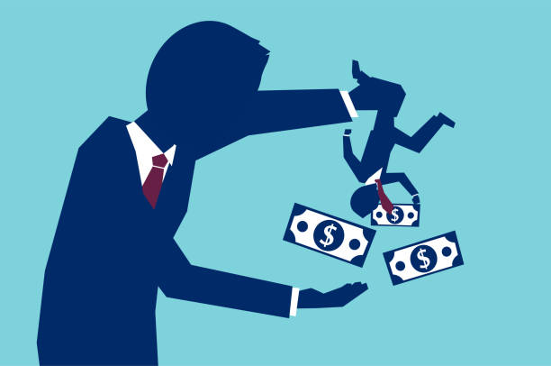 vector concept of man shaking business partner to take all his money on blue background - сбор stock illustrations