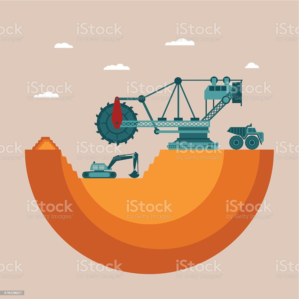 Vector concept of mine at mineral deposit place vector art illustration