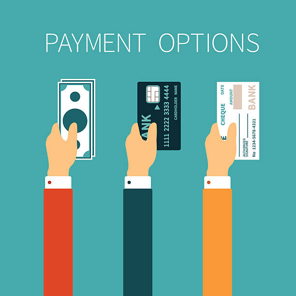 Vector concept of payment options in flat style Vector concept of payment options in flat style choice stock illustrations